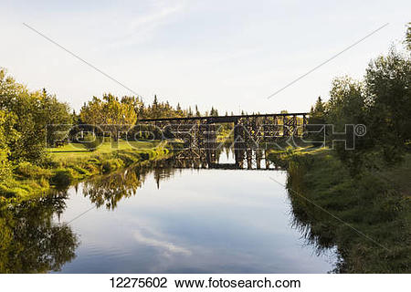 Stock Photo of Tressel bridge over Sturgeon River; St. Albert.