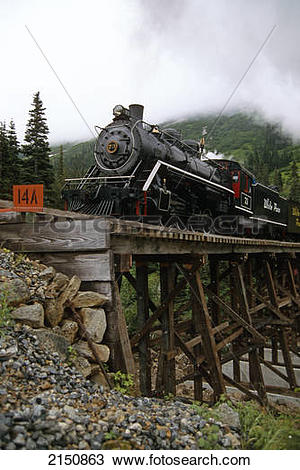 Stock Photo of White Pass Railroad On Tressel Near Skagway 2150863.