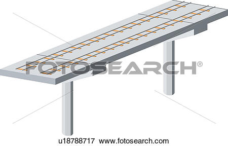 Clip Art of track, rail, railway, bridge, railroad, trestle, icon.