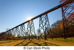 Stock Image of Trains, girders, and trestles.