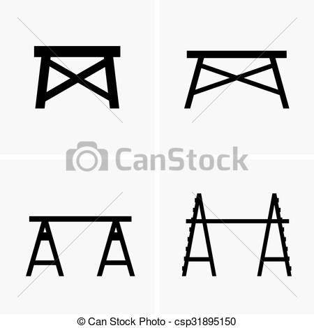 Clipart Vector of Construction trestles.