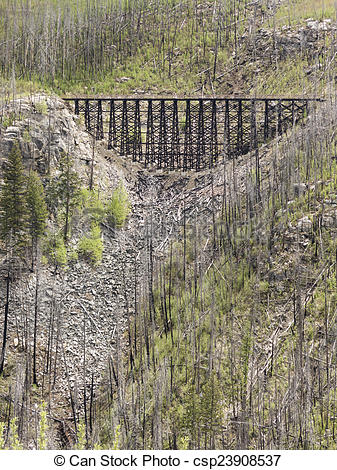 Stock Photos of Scenic view of Old Train Trestles, now part of.