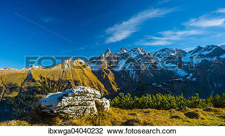 """Stock Photo of """"Panorama from Gugger See, central main ridge of."""
