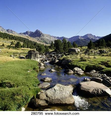 Stock Image of Stream flowing through forest, Andorra 280795.