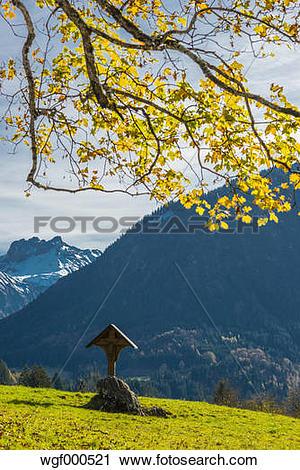 Stock Photography of Germany, Bavaria, Oberstdorf, field cross and.