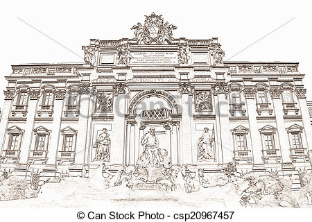 Stock Illustrations of Trevi Fountain Rome Italy.