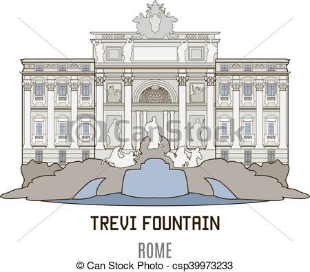 Vectors of Trevi Fountain, Rome.