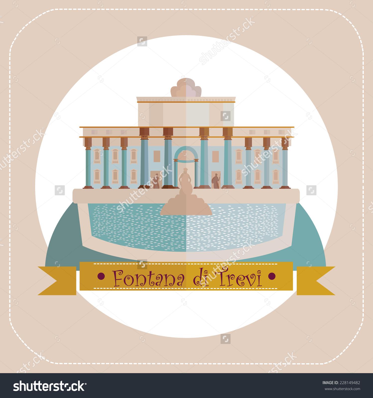 Italy Rome Fountain Trevi Stock Vector 228149482.