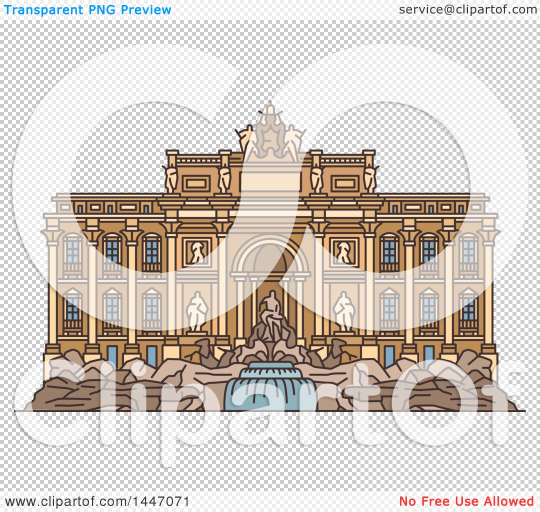 Clipart of a Line Drawing Styled Italian Landmark, Trevi Fountain.