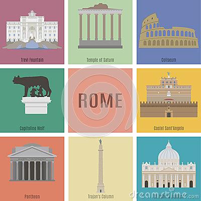 Fantastic Trevi Fountain Rome Italy Stock Illustrations.