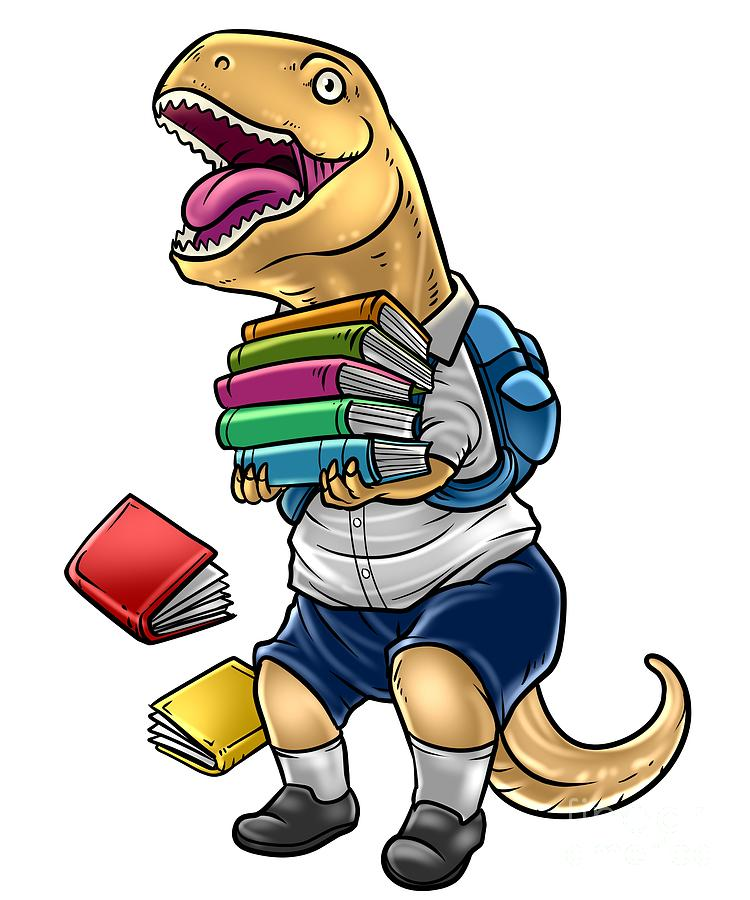 Funny Tyrannosaurus Rex With Books School.
