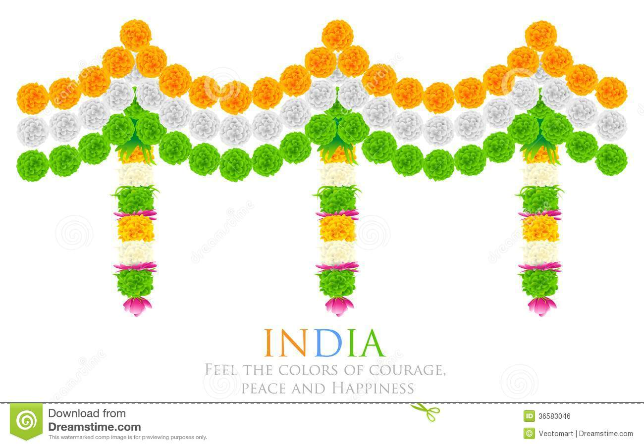 India Tricolor Flower Decoration Royalty Free Stock Image.