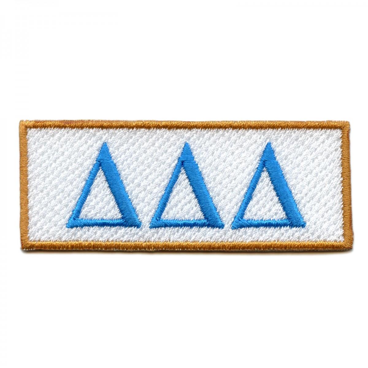 Delta Delta Delta \'Tri Delta\' Sorority Box Logo Iron On Patch.