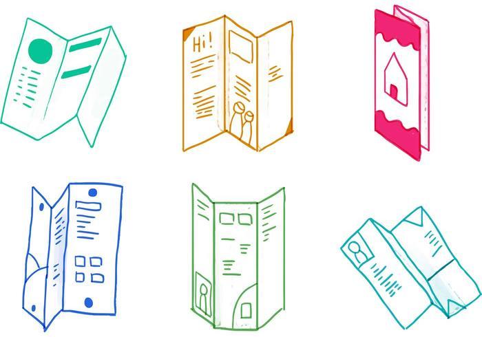 Trifold Brochure Icon Set.