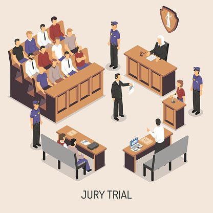 Jury Trial Isometric Composition Clipart Image.