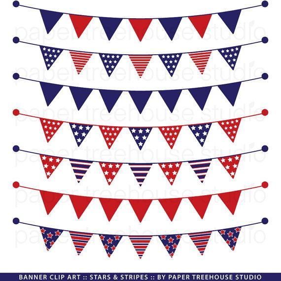 Banner Clip Art Red White and Blue Stars by.