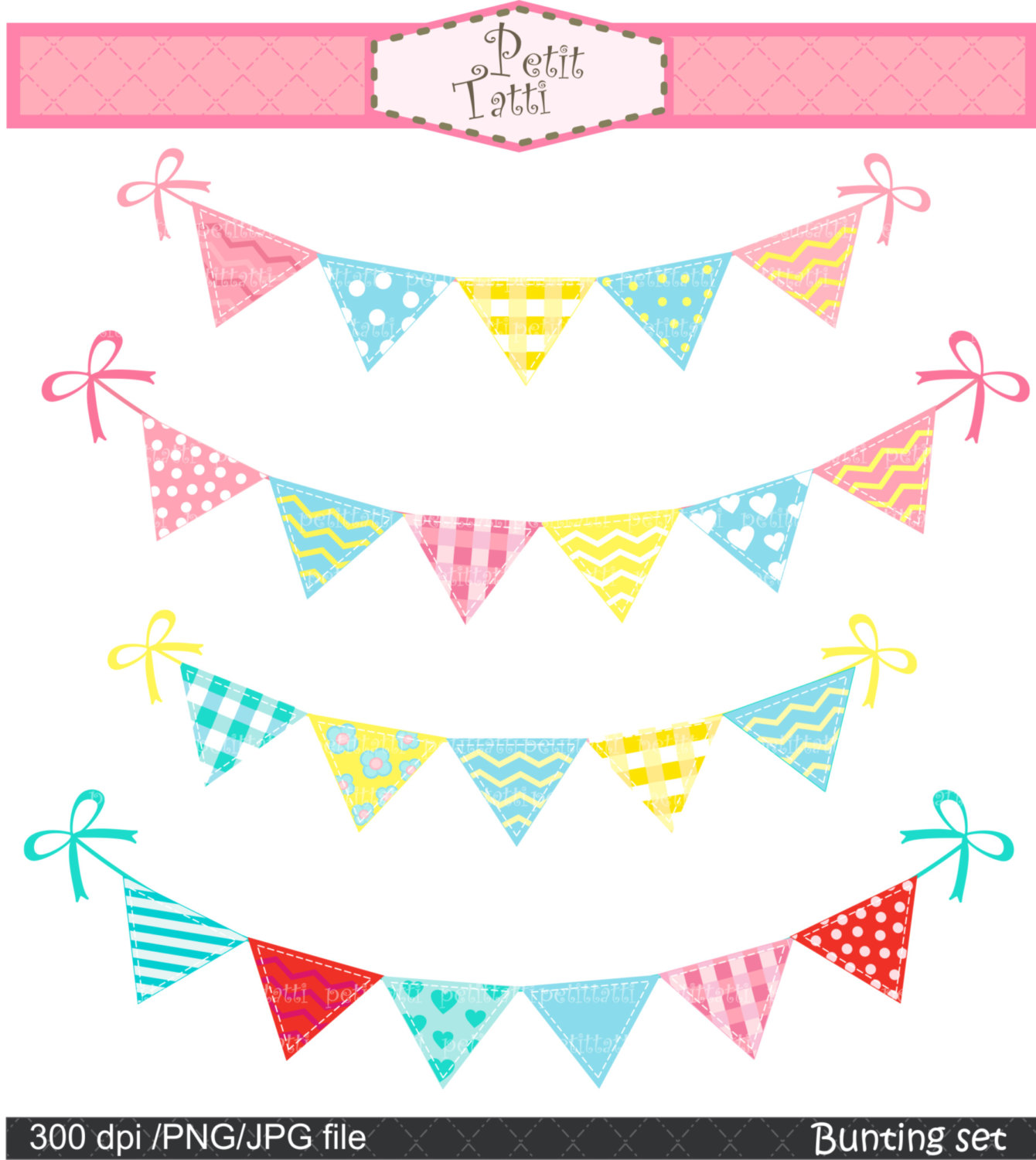 Download Free png Pink Butterfly Triangle Banner Clipart.