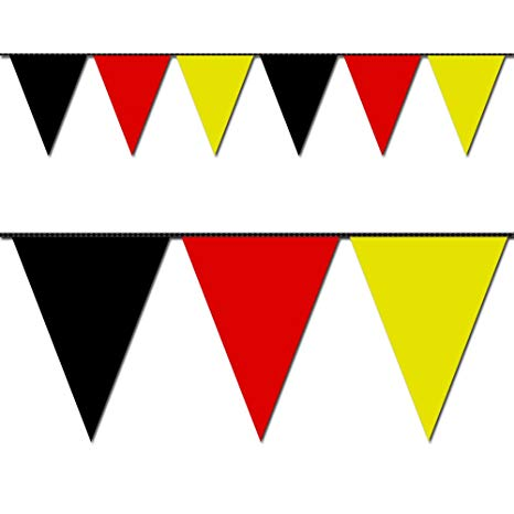 Ziggos Party Black, Red and Yellow Triangle Pennant Flag 100 Ft..