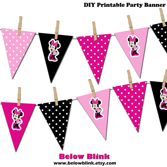 Minnie Mouse Banner, Minnie Mouse Printable Party Banner.
