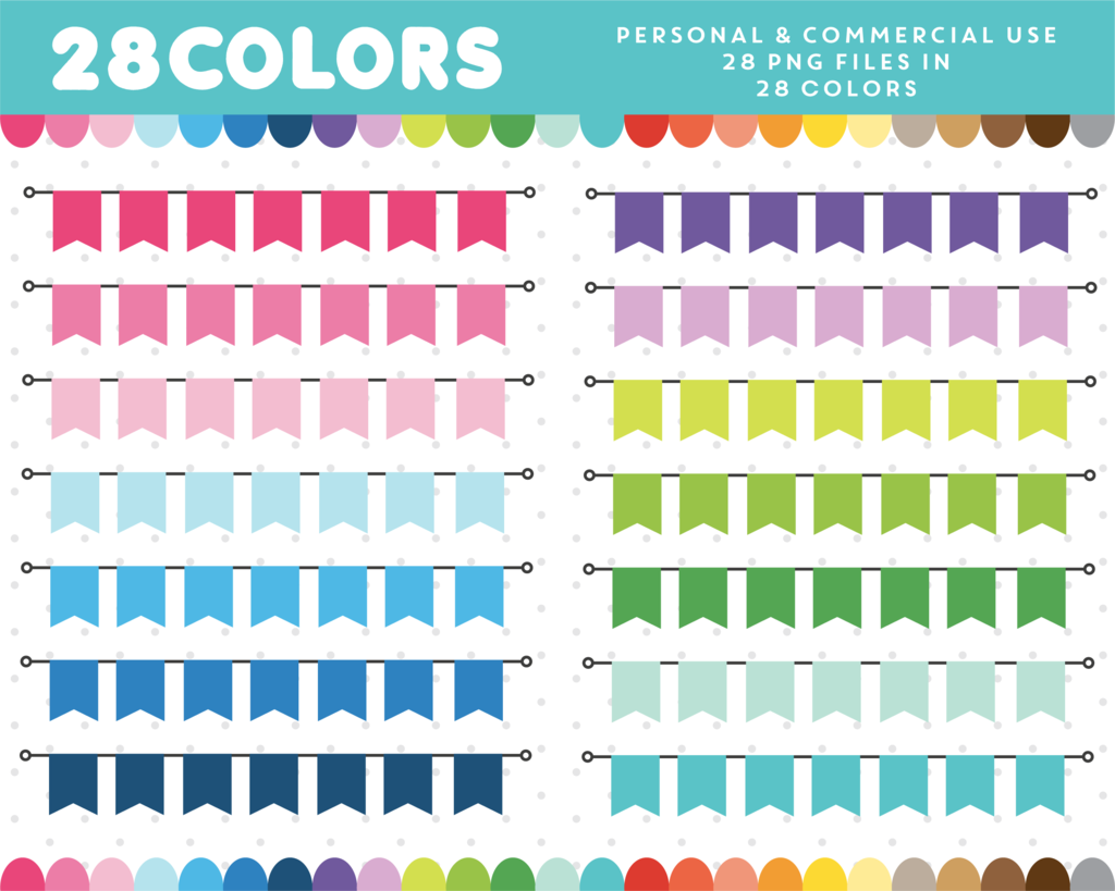 Straight banner clipart in 28 colors, CL.