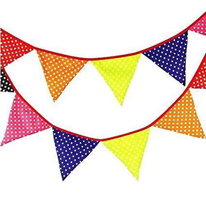 3.3M/10.8 Feet Turquoise Cotton Cloth Triangle Flag Banner Double Sided  Pennant Bunting Banner for Christmas Halloween Wedding Birthday Party.