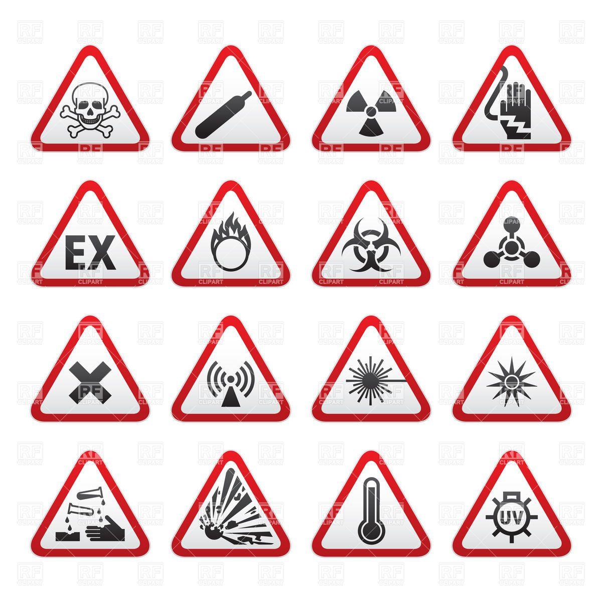 Triangular warning hazard signs Stock Vector Image.