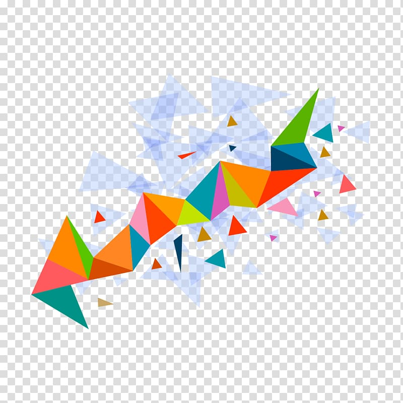 Color triangle, triangle mosaic pattern, multicolored.