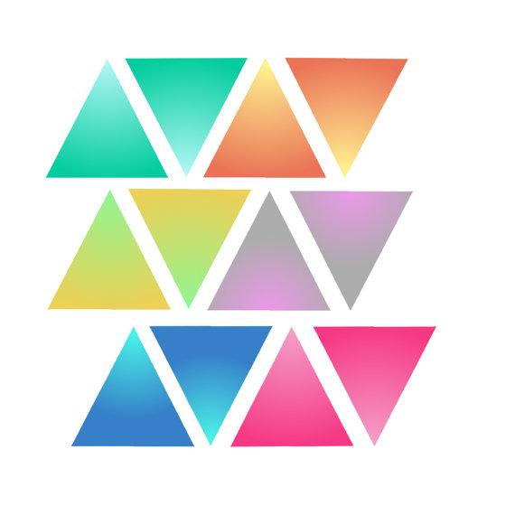 Items similar to 12 Triangle Clipart // Rainbow Triangles // Faded.