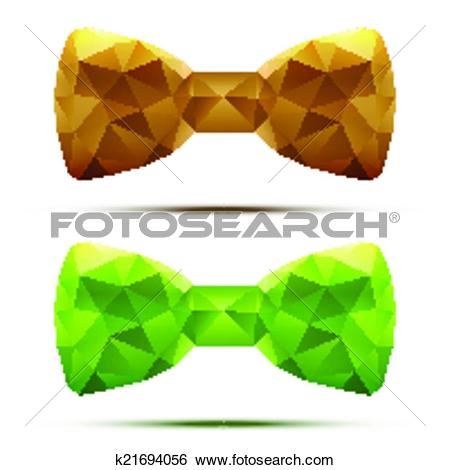Clip Art of Set of colorful abstract fashion bow tie in.