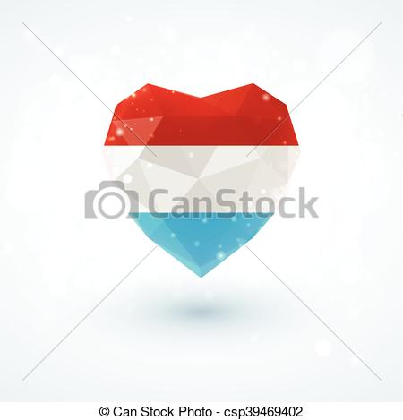 Vector Clipart of Flag of Luxembourg in shape diamond glass heart.