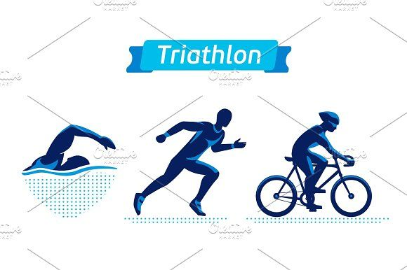 Triathlon logos or badges set. Vector figures triathletes on.