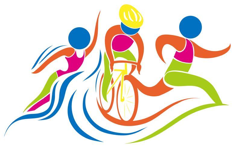 Triathlon icon in colors.