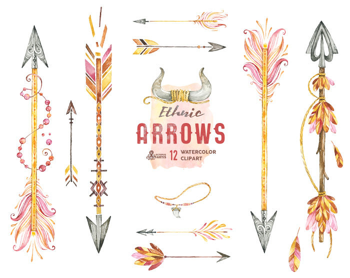 Ethnic Arrows. 12 Watercolor Hand painted Clipart elements.