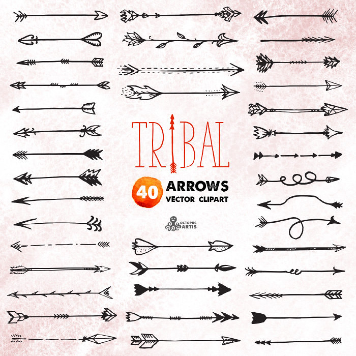Tribal Arrows Clipart: 40 vector digital files. Hand drawn.