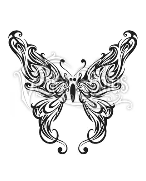 Graphic Tribal Butterfly Wings Clip Art.