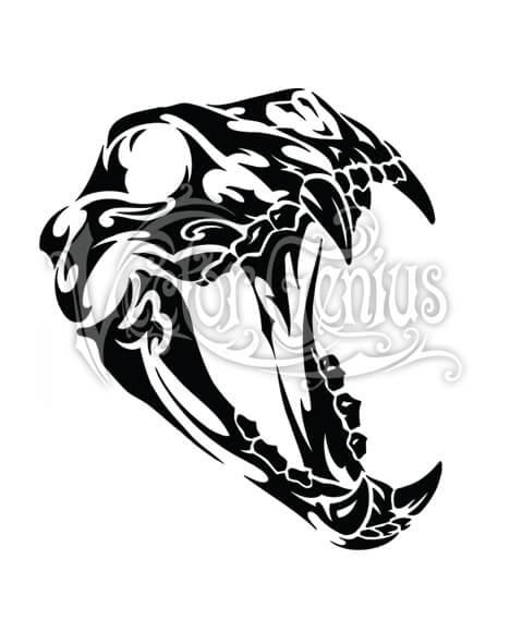 Canine Roaring Tribal Skull Clip Art.