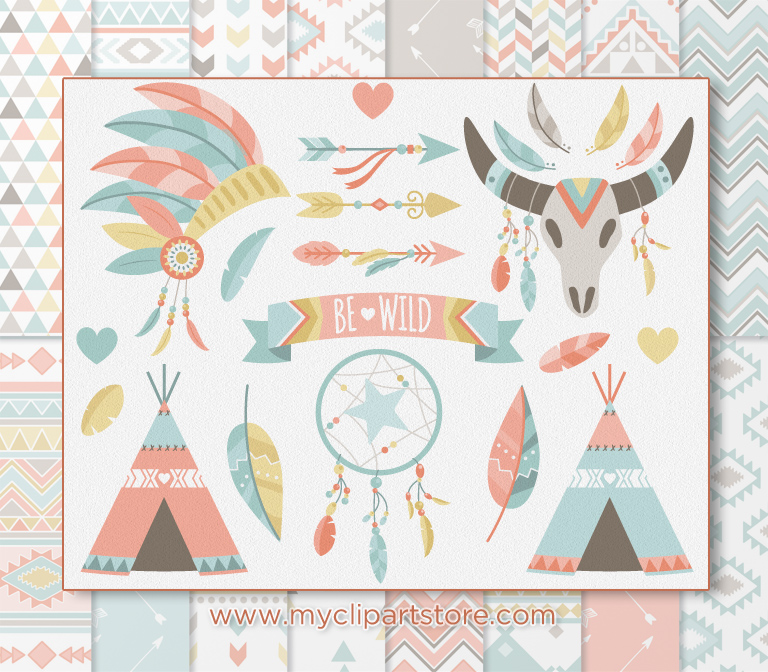 Boho Tribal Clipart Combo.