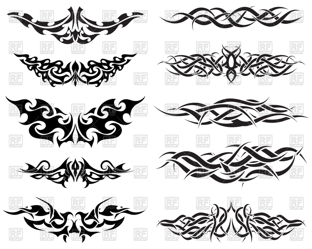Black patterns of tribal tattoo Vector Image #85693.