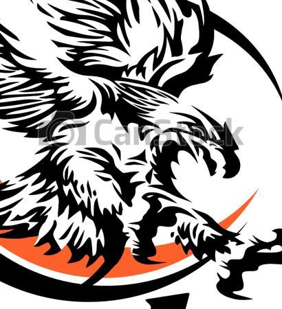 Vector of eagle basketball team design with tribal eagle.