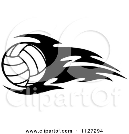 Clipart Of A Black And White Volleyball With Tribal Flames 2.