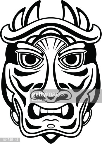 Ancient tribal mask Clipart Image.