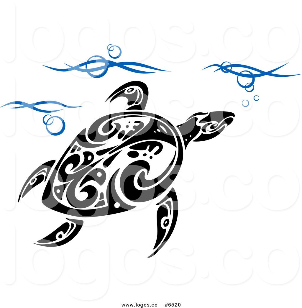Royalty Free Clip Art Vector Logo of a Tribal Sea Turtle.
