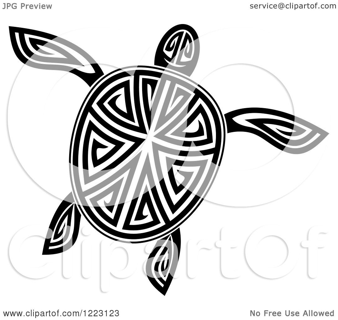 Clipart of a Black and White Tribal Sea Turtle 6.