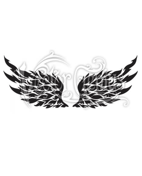 Flaming Tribal Tattoo Wings ClipArt.