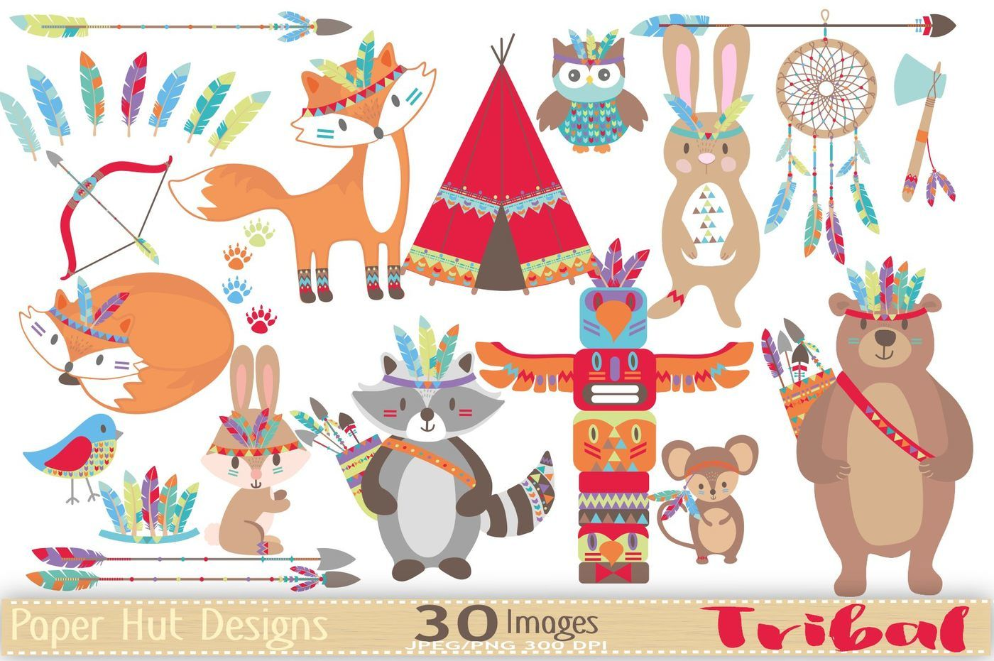 Tribal Woodland Animals Clipart By PaperHutDesigns.