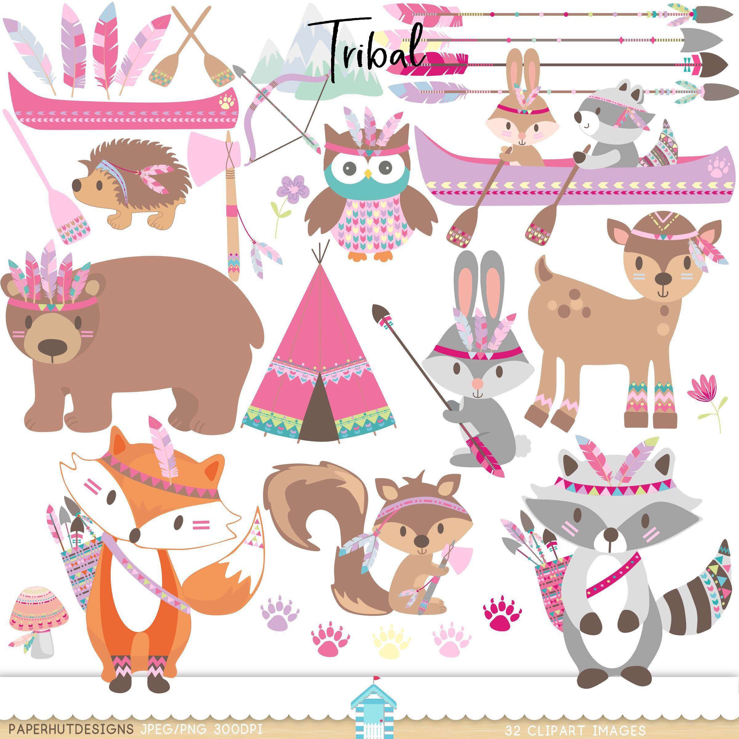 Girls Tribal Animals Clipart.