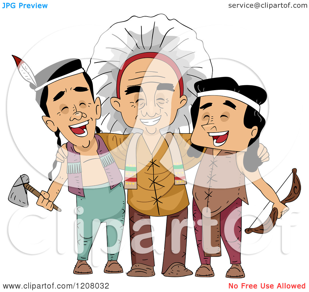Cartoon of a Group of Native American Men from Different Tribes.