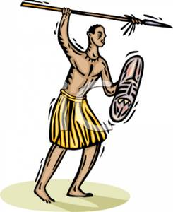 Colorful Cartoon of a Tribesman with a Spear and Shield.