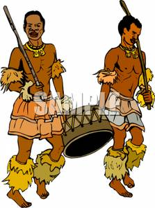 Cartoon of Two Tribesmen In Traditional Costume Carrying Spears.