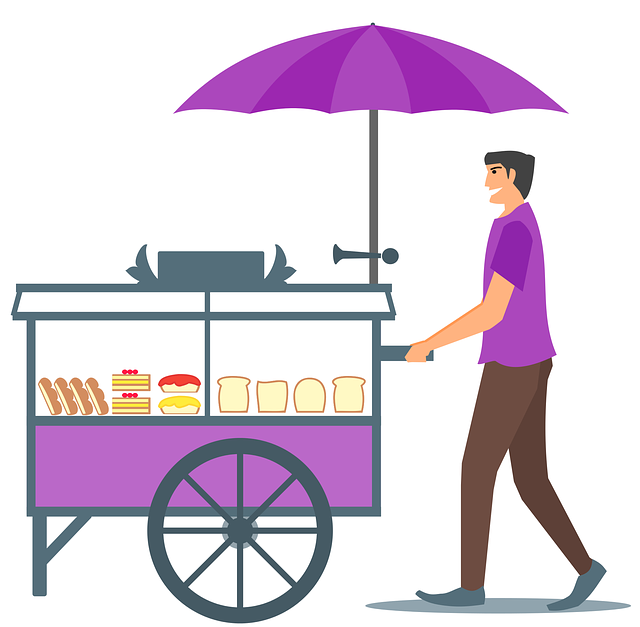 Free photo Food Seller Guy Bread Cake Cart Character.